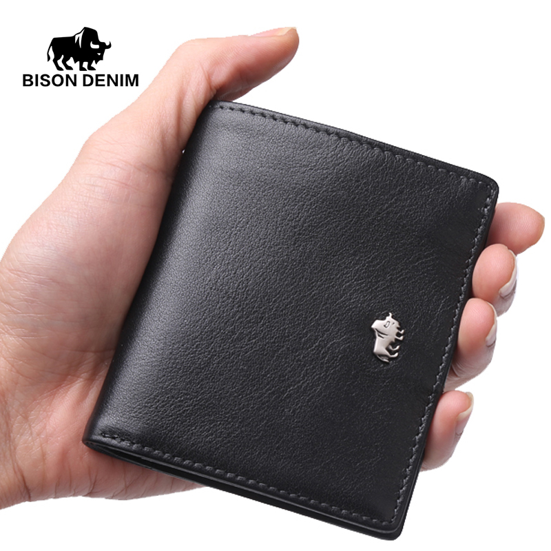 BISON DENIM Short Wallets For Men Genuine Leather Wallet Men Coin Pocket Card Holder Purse Mini Small Wallet Business gift mens wallets black cowhide real genuine leather wallet bifold clutch coin short purse pouch id card dollar holder for gift