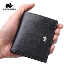 BISON DENIM Marke Geschäfts Echtes Leder brieftasche für männer/frauen Kleine Thin Kartenhalter Schlanke Brieftaschen Mini Reißverschluss Münze geldbörse
