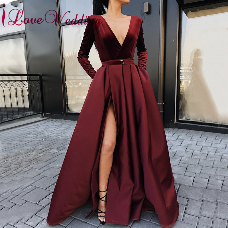 New Arrival 2019 Sexy Deep V Neck Wine Red Satin Prom Dress Custom made Long Sleeves