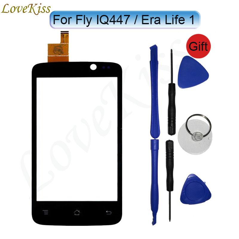 4 IQ447 Touchscreen Front Touch Panel For Fly IQ447 ERA Life 1 IQ 447 Touch Screen Sensor Digitizer LCD Display TP Glass Tools