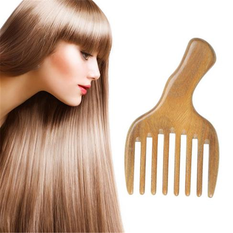 Comb Hair Straightener Wide Tooth Comb Wooden Massage Shampoo Brush Hair Extension Anti-Static Wooden Hair Pick Sandalwood
