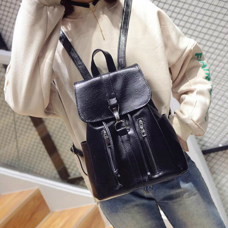 Latest Fashion Women Simple Style All Match Pu Leather Street Travel Office Hand Bag Double Shoulder Bucket Bag Backpack