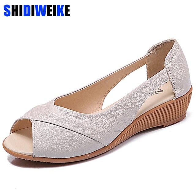 2020 новые сандалии на танкетке Женская летняя обувь повседневные женские летние сандалии без шнуровки однотонные сандалии на платформе размера плюс 35 43 m833
