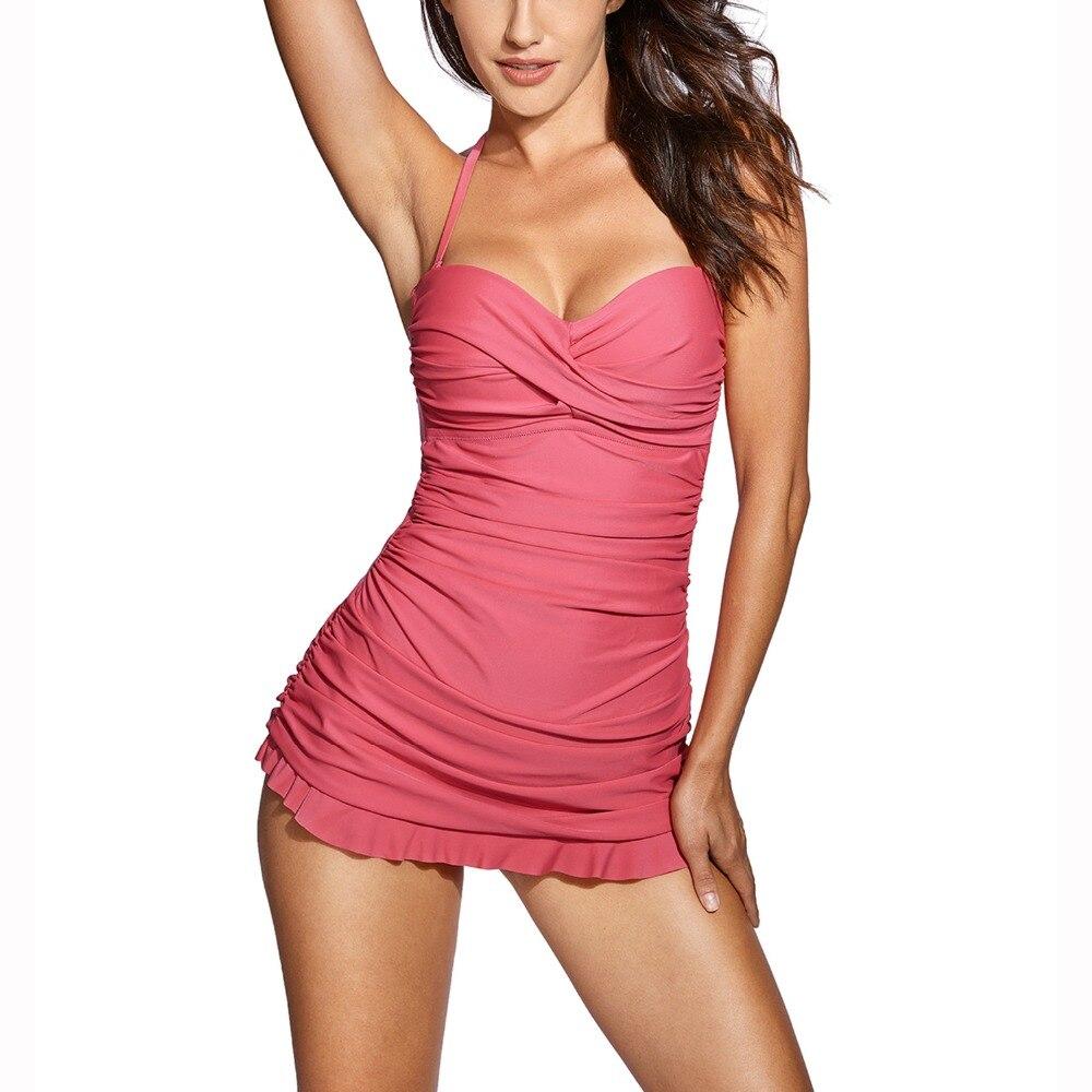 Wanita One Piece Bandeau Halter Swimsuit Swimwear Slim dengan - Pakaian olahraga dan aksesori