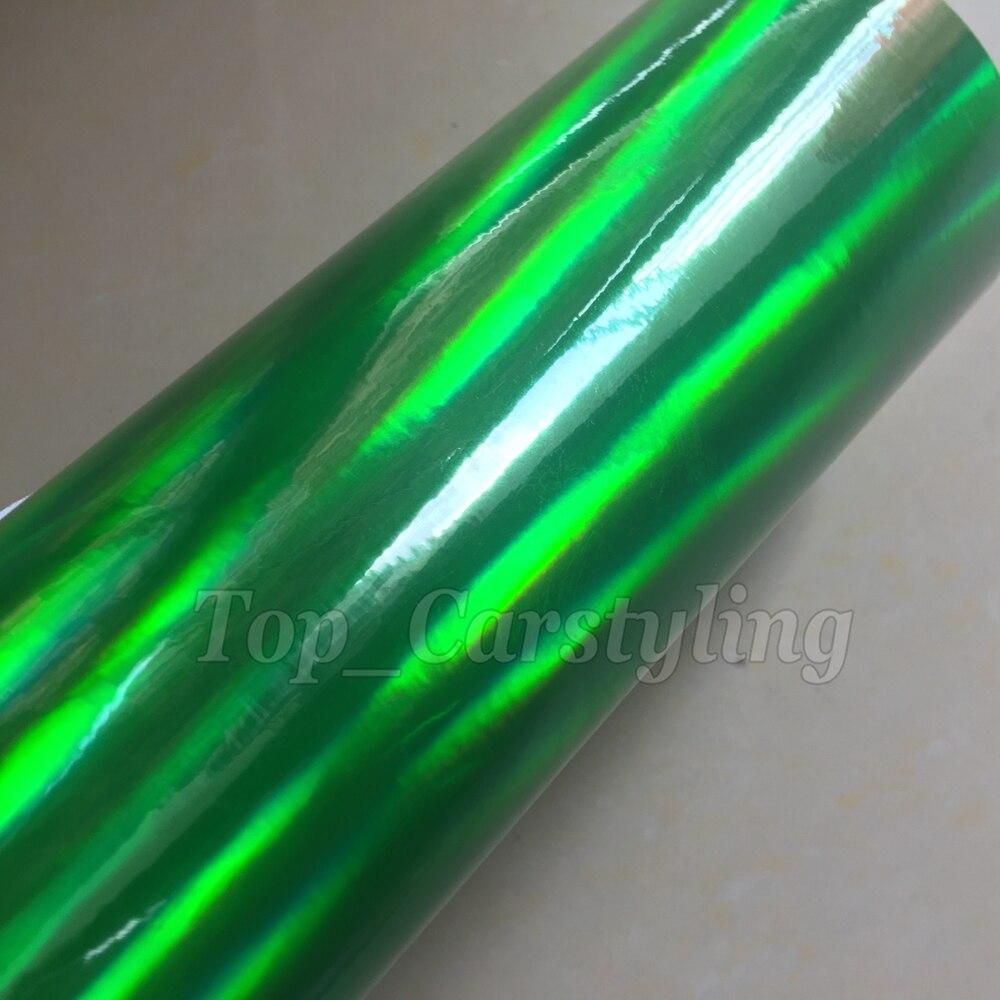 Блестки для ногтей Зеленый хром лазерный винил стикеры Foile обёрточная бумага простыни с пузырьков Радуга Блестки для ногтей