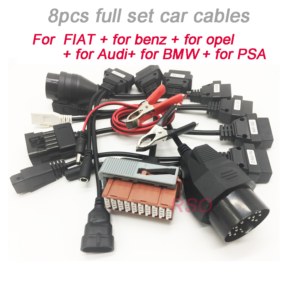 car Diagnose <font><b>Adapter</b></font> Cables For TCS Pro PLUS <font><b>OBD2</b></font> Cars Diagnostic Interface Tool Full <font><b>set</b></font> 8pcs Car Cables high Quality image