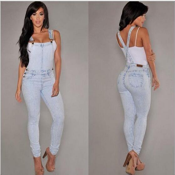 Occident fashion vintage cowboy denim ladies overalls Bleached Spliced Zippers Grinding empire bodycon sky blue women Jeans D2