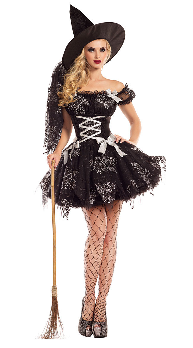 Adult Gothic Witch Costume Halloween Party Witch Costume Women Sexy Black Tulle Witch Dress+Hat