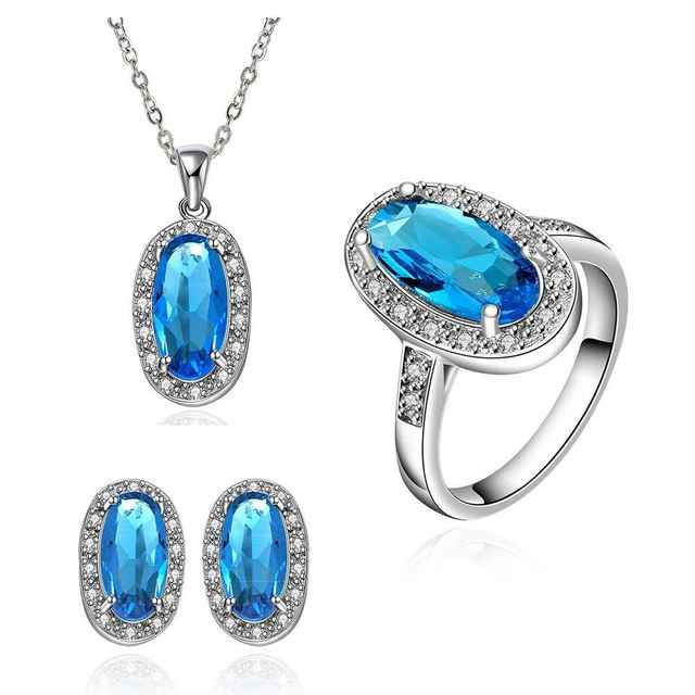 Best Friends GoldenPlated african jewelry set Blue stone jewelry meet you that day N+E+R Jewellry sets couponFBLS040