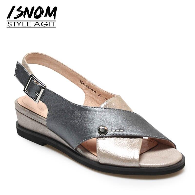 ISNOM High Heels Sandals Women Peep Toe Footwear Cross Tied Wedges Sandals Shoes Casual Cow Leather