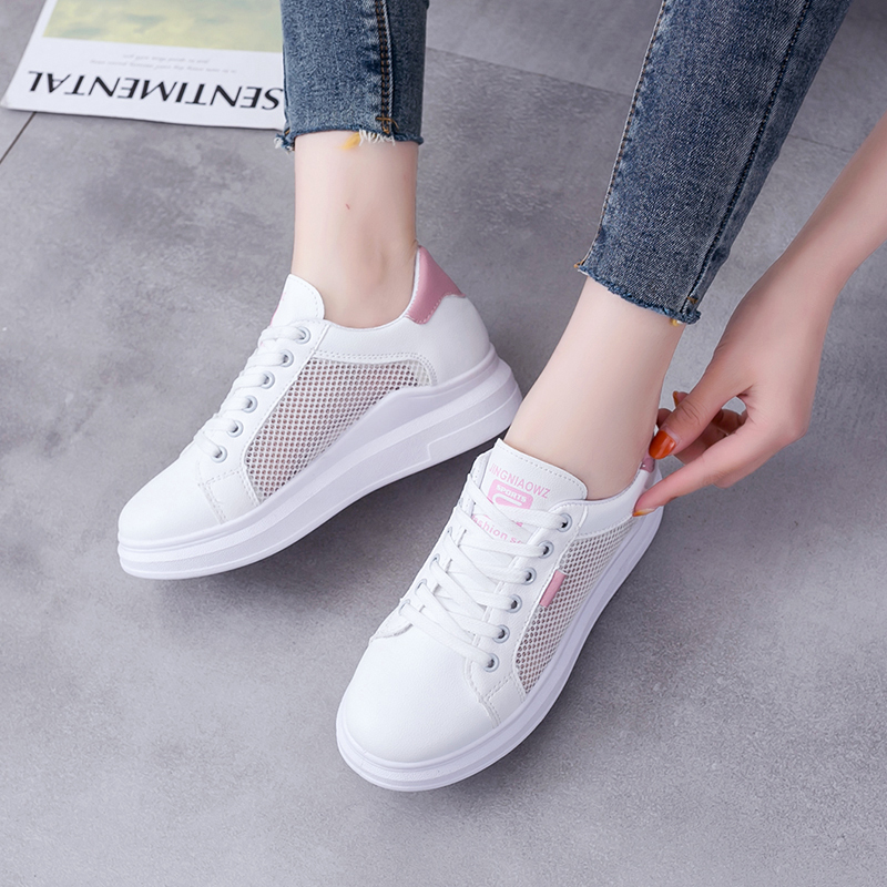 Rommedal Summer clunky sneakers female PU leather hollow low-cut shoes solid flat height increase women vulcanize factory