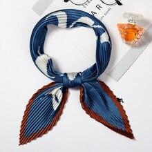 2019 Designer Silk Crinkle Scarf Square for Women Letter Print Lady Pleated Hair Neck Scarfs Female Satin Neckerchief Tie