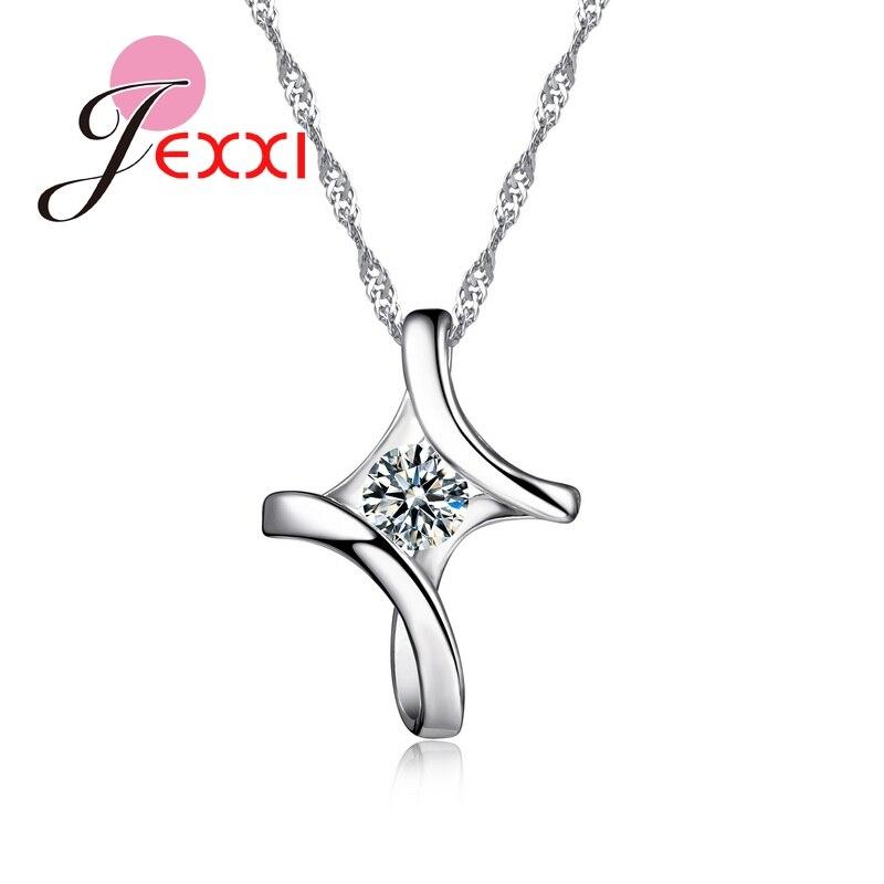 JEMMIN Romantic Irregular 925 Sterling Silver Cross Cubic Zircon Pendant Necklace Women Girlfriend Best Lovely Gifts Accessories цены