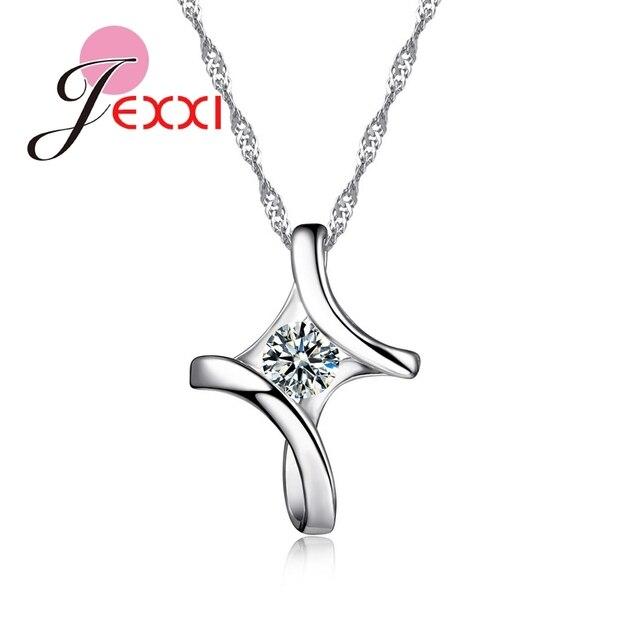 JEMMIN Romantic Irregular 925 Sterling Silver Cross Cubic Zircon Pendant Necklac