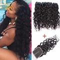 Brazilian Virgin Hair Water Wave With Closure Rosa Hair Products Human Hair Weave 3 Bundles With Lace Closure Natural Ocean Wave