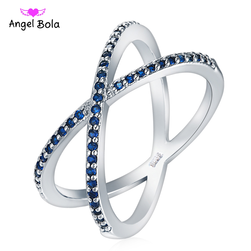 Trendy Silver Color Ring X Shape Cross Rings with Micro Paved Cubic Zirconia Rings for Women Jewelry Bague Femme RC-036