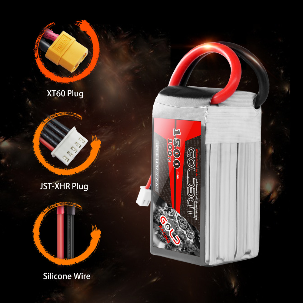Image 4 - 2units GOLDBAT 1500mAh 4S Battery lipo for Drones 14.8V Lipo Battery 4s for fpv 100C lipo with XT60 Plug for Airplane FPV Racing-in Parts & Accessories from Toys & Hobbies