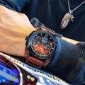 Часы NAVIFORCE мужские  черные  спортивные  модные  деловые  кожаные  водонепроницаемые  аналоговые  кварцевые  наручные часы