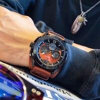 Naviforce preto dos homens relógios de esportes moda homem de negócios couro à prova dwaterproof água relógio analógico quartzo relógio de pulso relogio masculino Relógios de quartzo     -