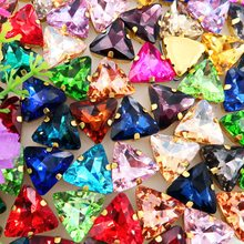 18mm 20pcs/pack gold claw Triangle shape Sew on rhinestone beads glass Crystal garments clothes shoes decoration diy