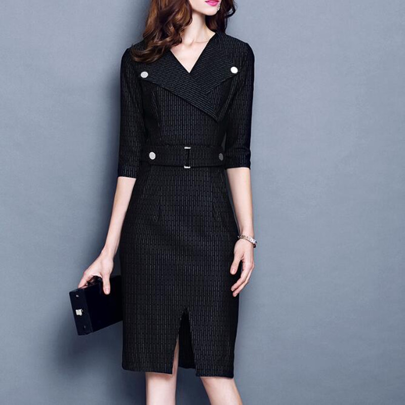 2020 High Quality Ladies Spring Autumn Office Wear Elegant V Neck Women Work Dress Suit Business Formal Female Clothes Plus Size