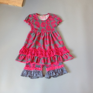 Image 1 - Grey, rose red,lotus girls dress Outfits Infants and Children dresses  soft Ruffle flower frocks for kids kids boutique clothing