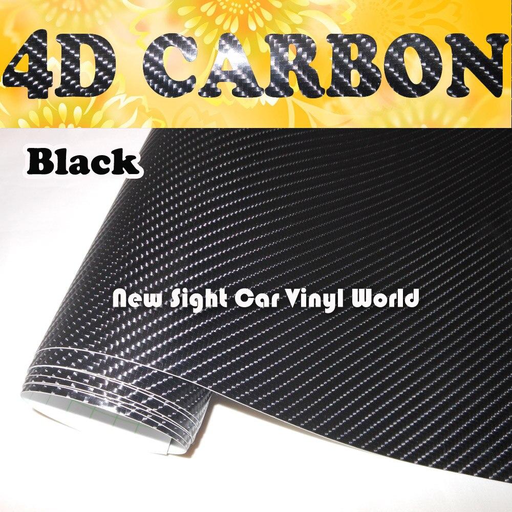 Excellente qualité noir 4D fibre de carbone vinyle pellicule de film sans bulle pour voiture autocollants taille: 1.52*30 m/Roll