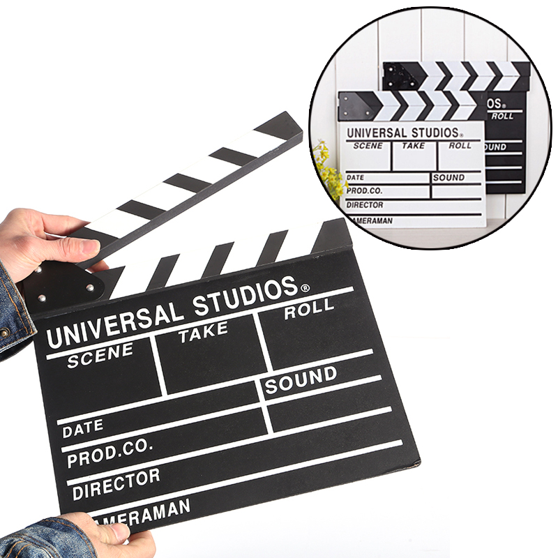30x27cm Cute Classical Director Video Clapper Board Scene Clapperboard TV Movie Film Cut Prop for Wedding Birthday Party