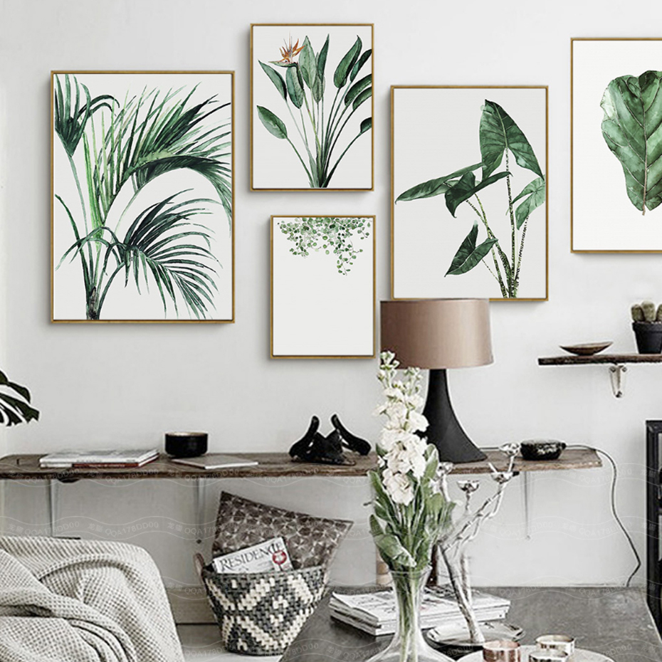 Watercolor Green Plants Leaves Canvas Paintings Nordic
