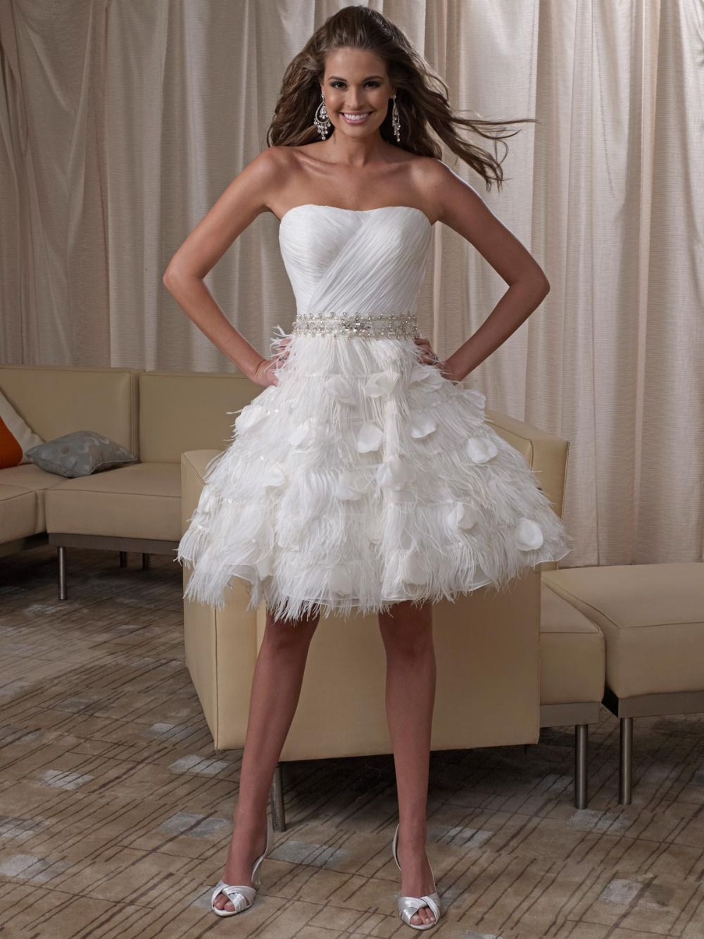 sheer white bridal gowns sweetheart knee length chiffon feathers short wedding dresses 2016