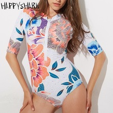 New Professional Athletic Swimsuit Women One Piece Swimwear Floral Printed Eight-point sleeve Female Bathing Suit