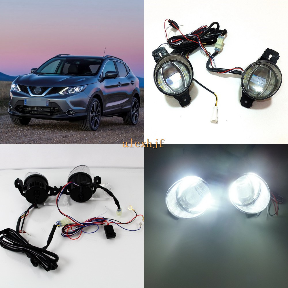 цена на July King 1600LM 24W 6000K LED Light Guide Q5 Lens Fog Lamp+1000LM 14W Day Running Lights DRL Case for Nissan Dualis Qashqai 07+