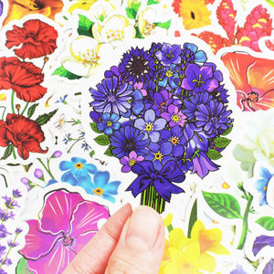 Image 4 - 50pcs spring flower stickers vinyl laptop skin plant floral sticker refrigerator suitcase sticker for MacBook Air Pro Retina/HP