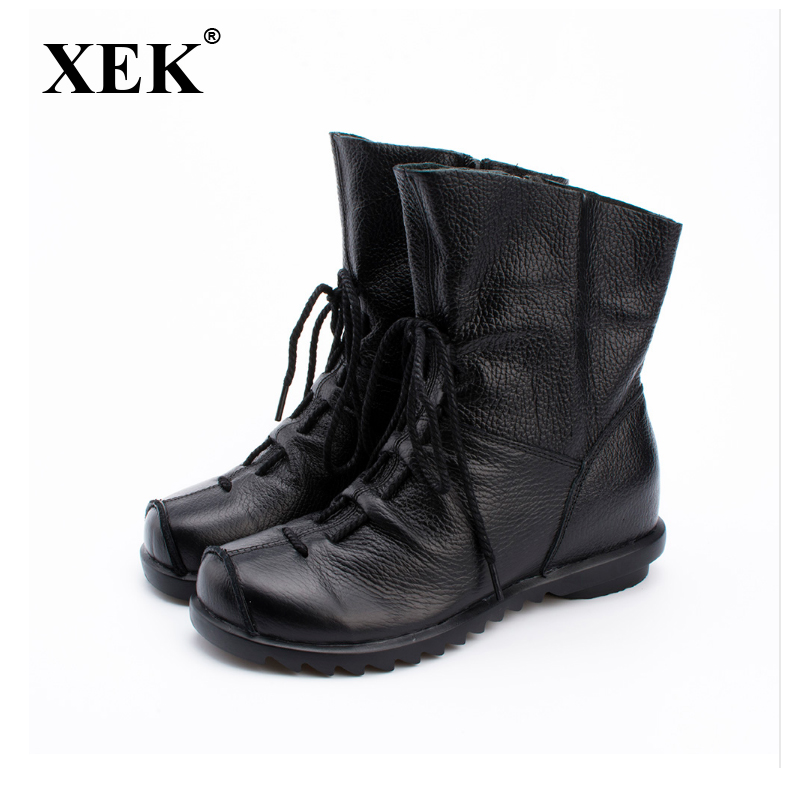 XEK 2018 Vintage Style Genuine Leather Women Boots Flat Booties Soft Cowhide Women's Shoes Front Zip Ankle Boots WYQ02 maylosa 2017 vintage style genuine leather women boots flat booties soft cowhide women s shoes zip ankle boots warm winter shoe