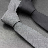 Fashion Casual High Quality Wool Narrow Tie Men's Dress Business Work Students England Wedding Black Gray 5.5cm Necktie Gift Box