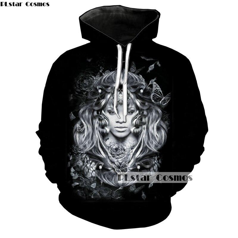 PLstar Cosmos Women/Men Pullovers Hoodie Rihanna Paint Hoodies spring Autumn Sportswear Black Sweatshirt Tracksuits With Pockets