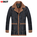 LKBEST 2017 Retro winter leather jacket men thick long mens leather jackets and coats casual men outwear brand clothing (PY22)