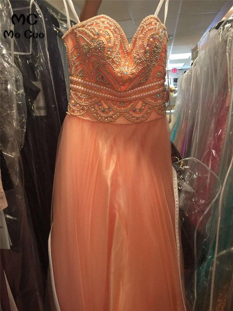 Increíble Sexy brillante 2018 cuentas formales de cristal cuentas de costura Organza largo Formal fiesta noche vestido de desfile