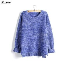 Xnxee New 2018 Long Sleeve Knitted Sweater Women Pullovers Round Neck Mixed Color Casual Sweaters Split Thick Jumper WMY28
