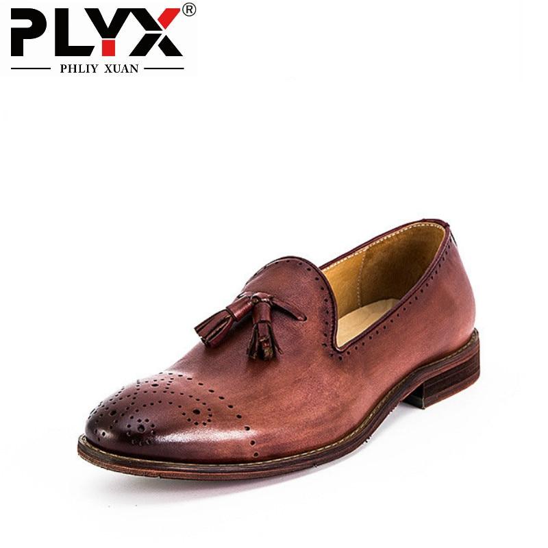 fdcb58d09a84 PHLIY XUAN Nouveau 2018 Mens Robe Chaussures En Cuir Véritable De Luxe  Italien Rétro 100% Main Hommes Richelieus Chaussure Homme De Marque dans  Chaussures ...