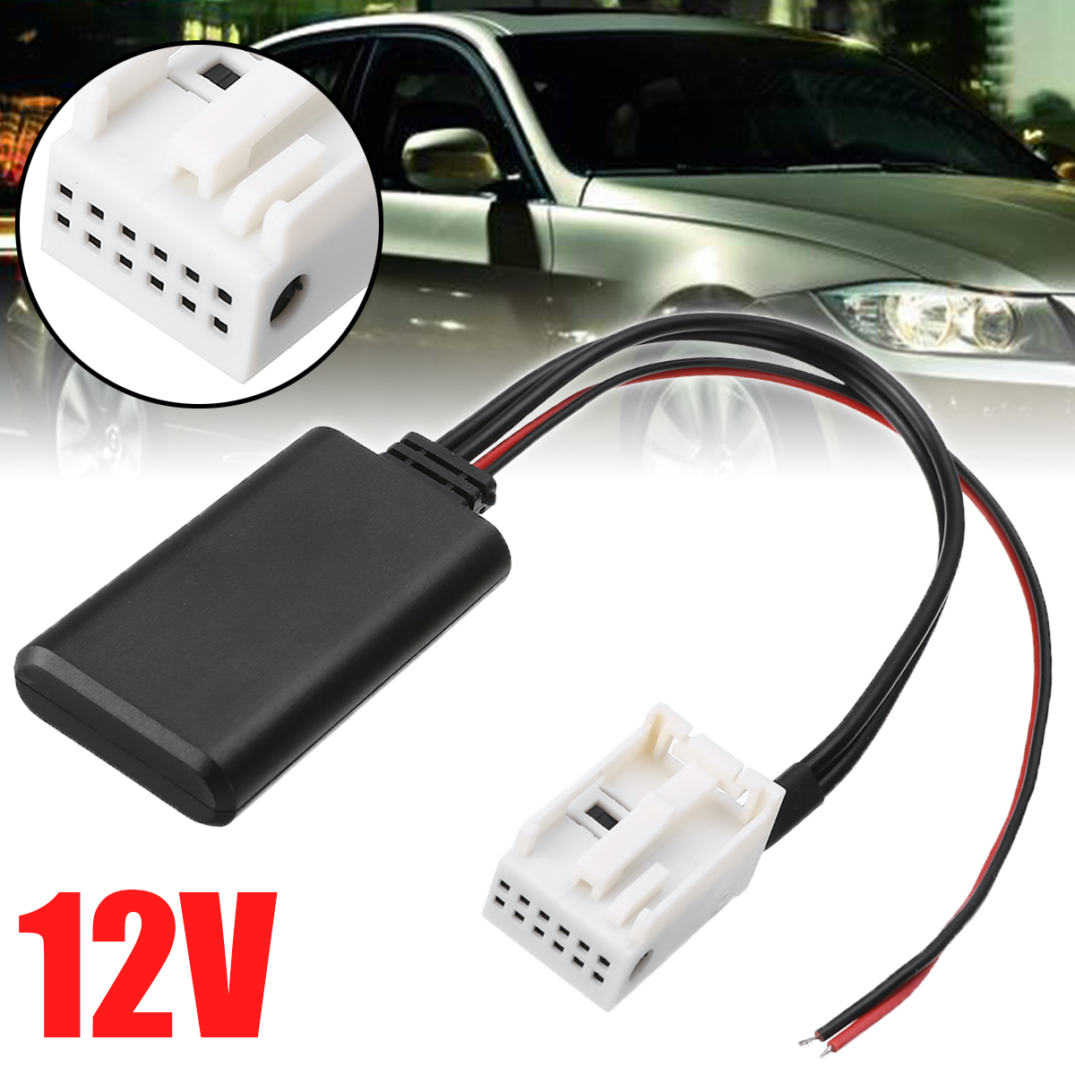 12Pin 12V Radio Stereo Aux Adapter Professional <font><b>bluetooth</b></font> Audio Adapter Aux Cable For <font><b>BMW</b></font> E60 2004-2010 E63 E64 2003-2010 E61 image