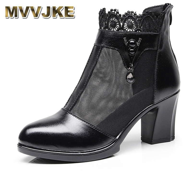 MVVJKE     Women Boots Genuine Leather Ankle Boots Lace Summer Boots Zapatos Chaussures Femme Square High Heel Women ShoesMVVJKE     Women Boots Genuine Leather Ankle Boots Lace Summer Boots Zapatos Chaussures Femme Square High Heel Women Shoes
