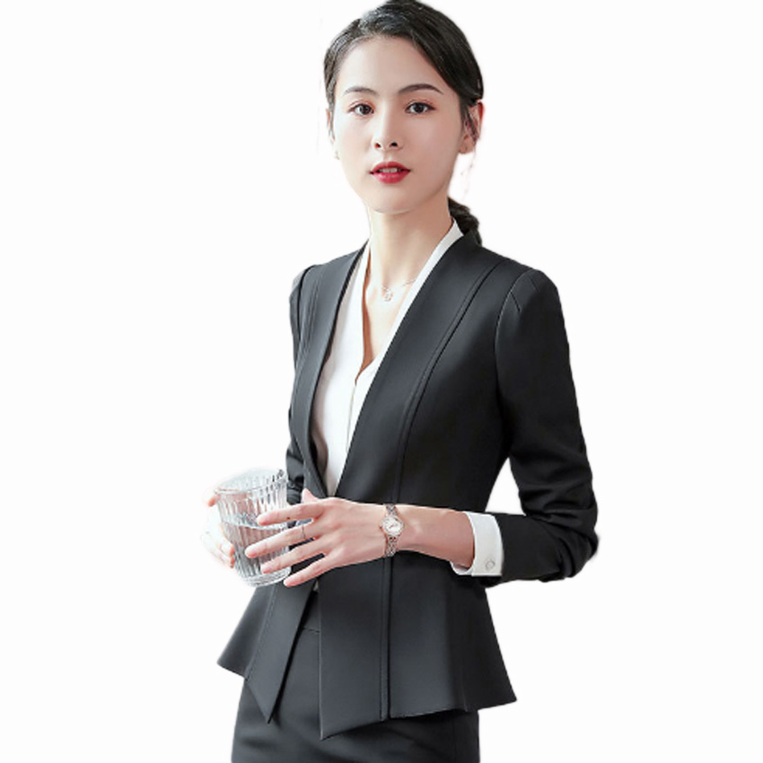 Flying Roc 2019 Autumn Elegant Blazer Flores Mujer Blazer Skirt Suit Office Lady Blazer Ropa De Oficina Full Sleeve Skirt Suits