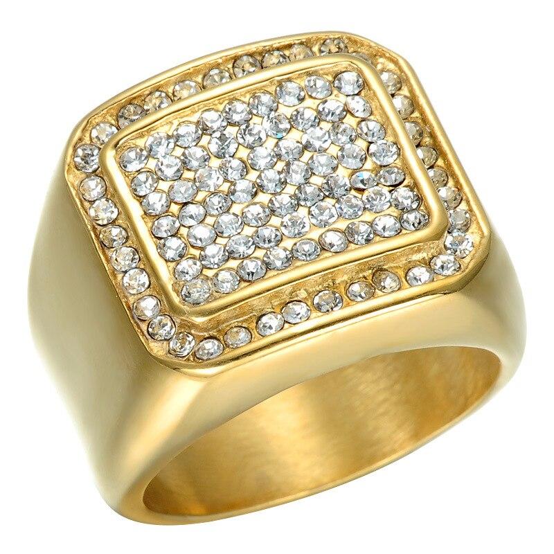 Высокое качество, модные изделия класса люкс квадратный IP позолота энергии кольца Titanium сталь, полированный кольцо подарок любовника