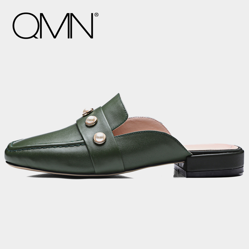 QMN genuine leather women slippers Women Faux Pearl Embellished Square Toe Summer Mules Slip On Shoes Woman Slides Size 34-43 qmn women crystal embellished natural suede brogue shoes women square toe platform oxfords shoes woman genuine leather flats