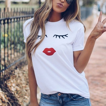 Pretty and cute Eye Lashes Red Lips Print Women t shirt  Summer Casual Short Sleeve O Neck t-shirt Ladies White TShirt Tops