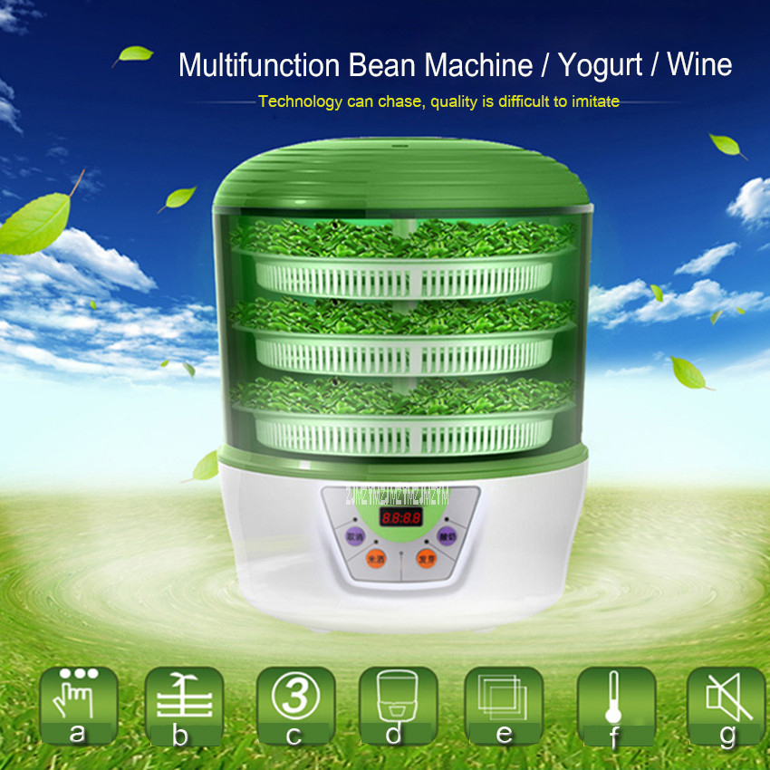 1PC Bean sprouts machine automatic intelligent household fabaceous large capacity Multifunction Bean Machine/Yogurt/Wine gonnie cb a360b bean sprouts machine high capacity multifunction commercial fully automatic household special free shipping