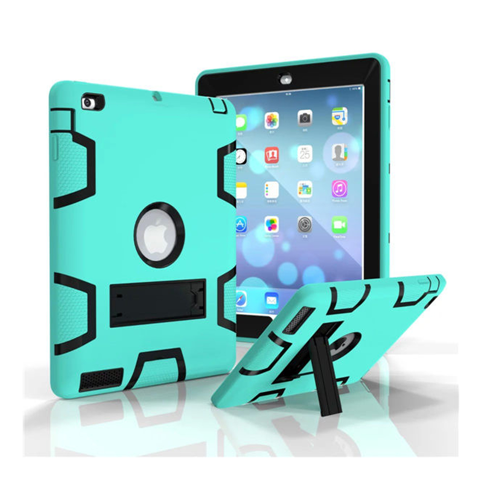 For Kids Safe Armor Shockproof Heavy Duty Silicon+PC Stand Back Case Cover For iPad 2 3 4 Tablet PC for apple ipad2 ipad3 ipad4 case kids safe armor shockproof heavy duty silicon pc stand back case cover for ipad 2 3 4 tablet pc