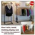 As lojas de roupas racks de chão de metal cremalheira de exposição, grande capacidade de cabides, cabides preto, mobília do quarto armario ropero