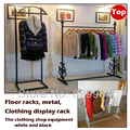 The metal floor racks clothing shops display rack,large capacity of hangers,black coat racks,bedroom furniture armario ropero